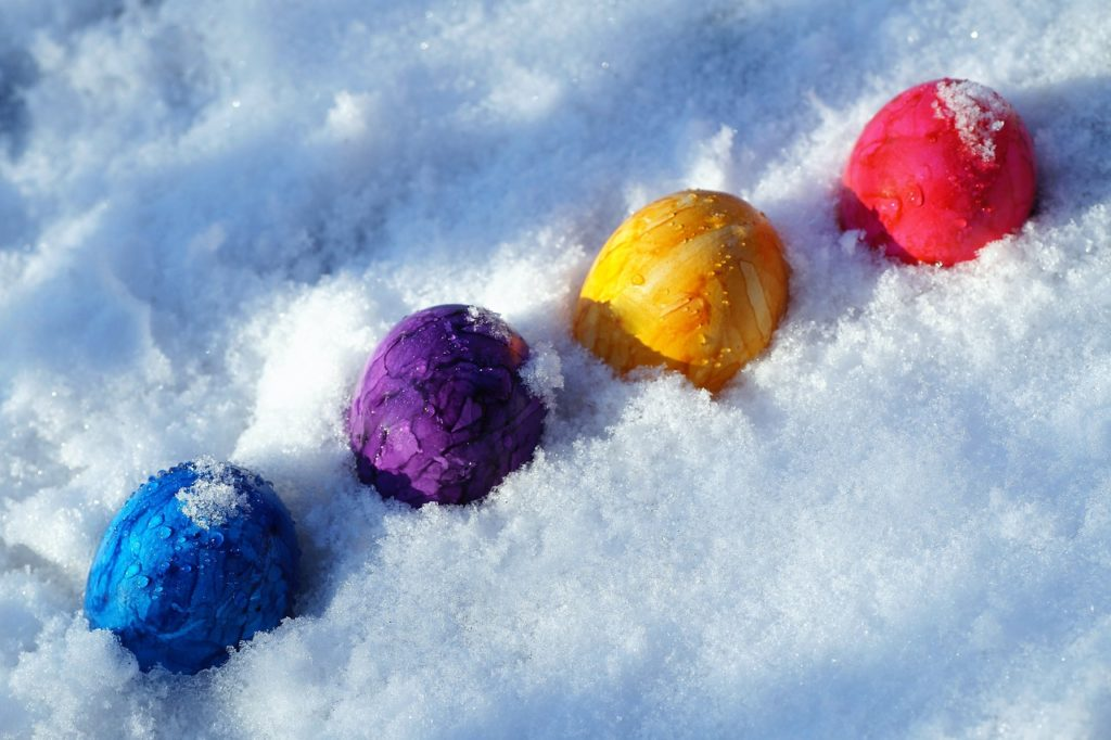 Easter Eggs in the Snow