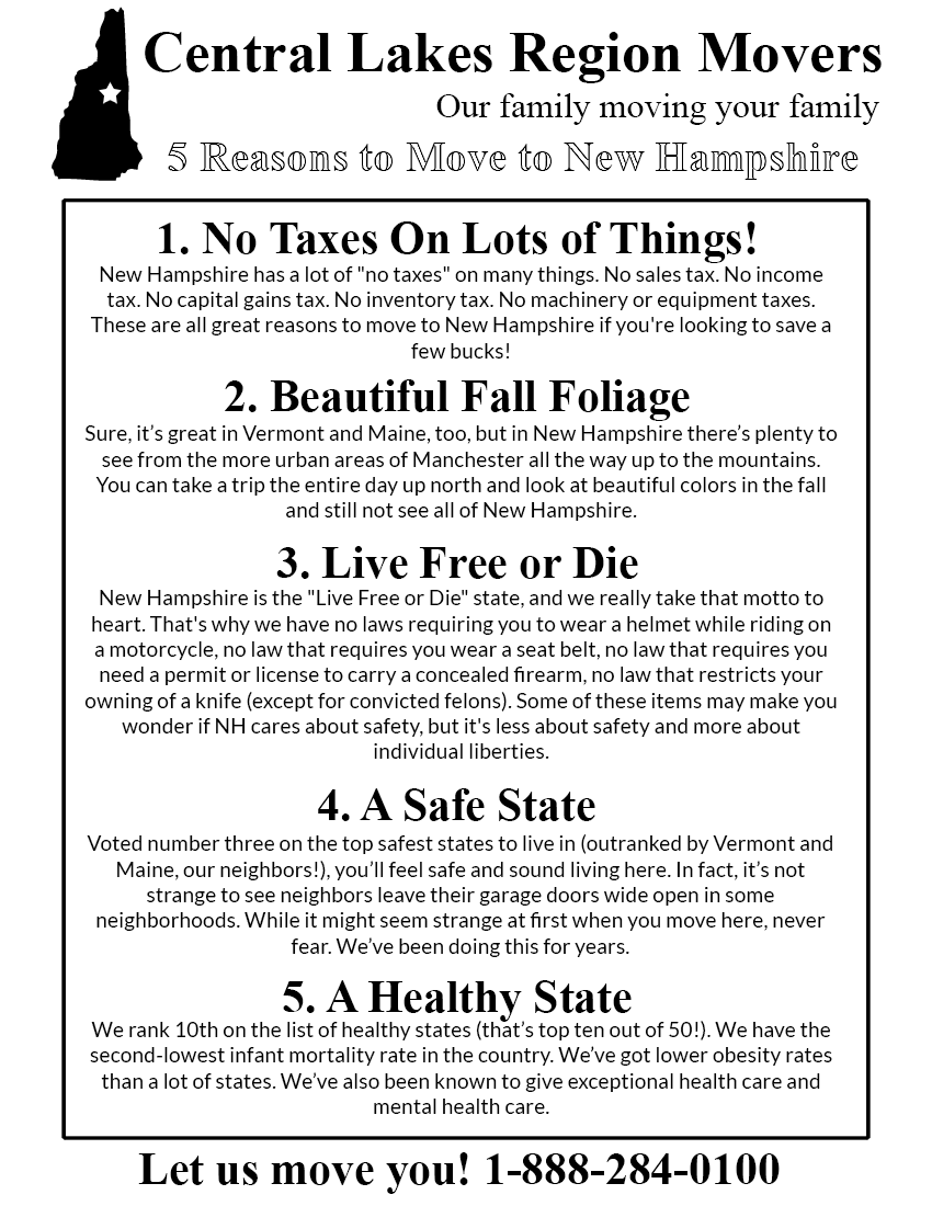 Printable Reasons to Move to New Hampshire