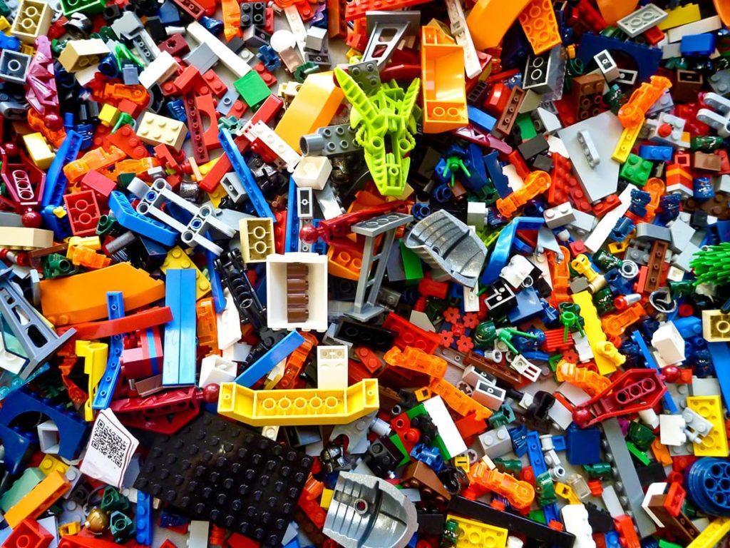 A mass of multicolored LEGO bricks