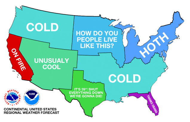 Temperature meme in the US