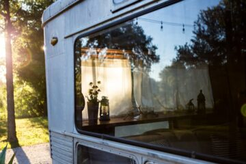Looking through the window of a mobile home
